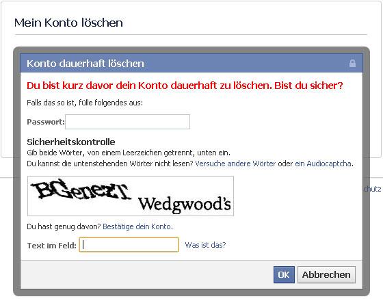 Facebook Account löschen - Schritt 2 (Sicherheitsabfrage)