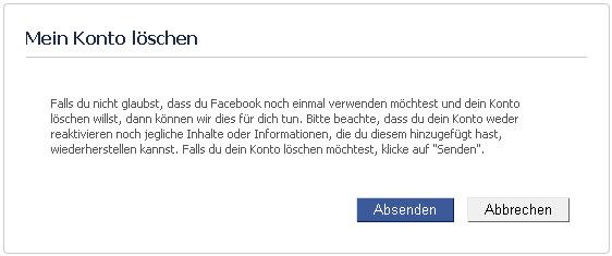 Facebook Account löschen - Schritt 1