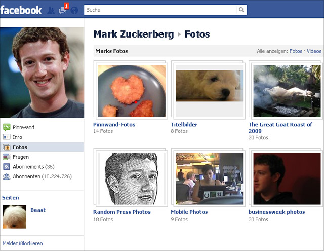 Mark Zuckerberg Fotos