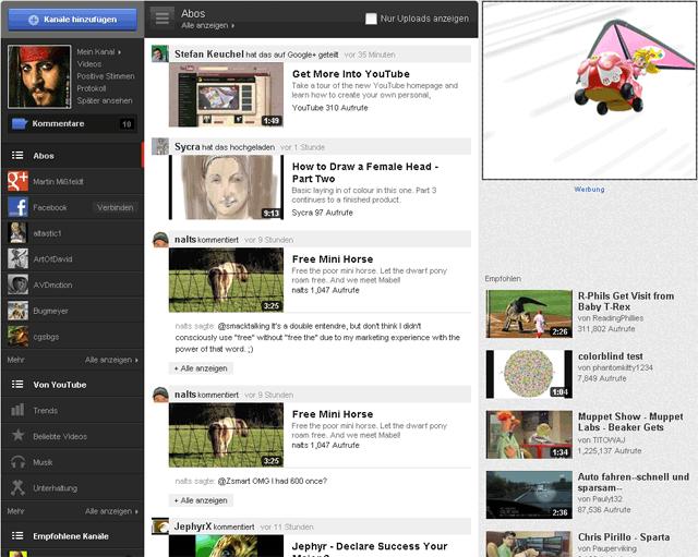 Neues youTube Design: Startseite neu
