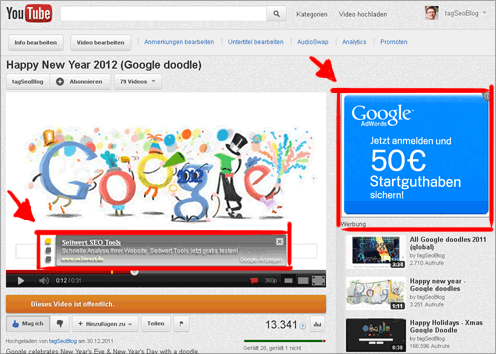 Adsense in youTube-Videos