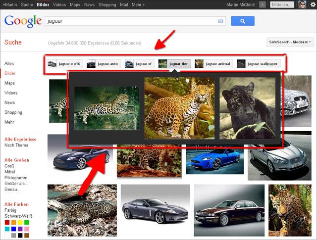 Google Bildersuche: Vorschläge für verfeinerte Suche nun mit Vorschau