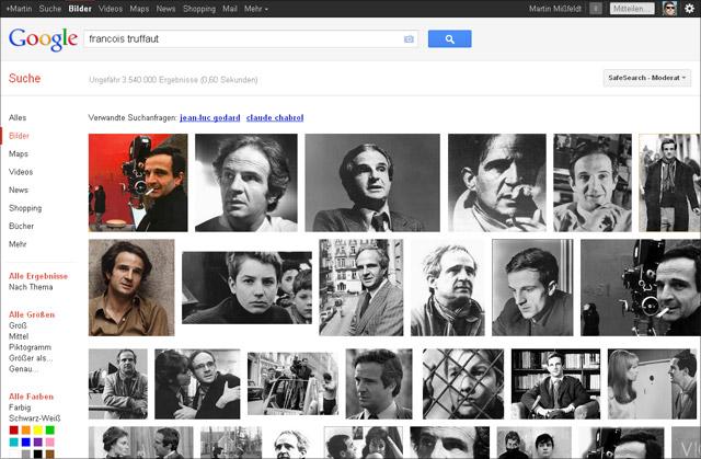 Google Bildersuche: Francois Truffaut (Screen vom 10. Februar 2012)