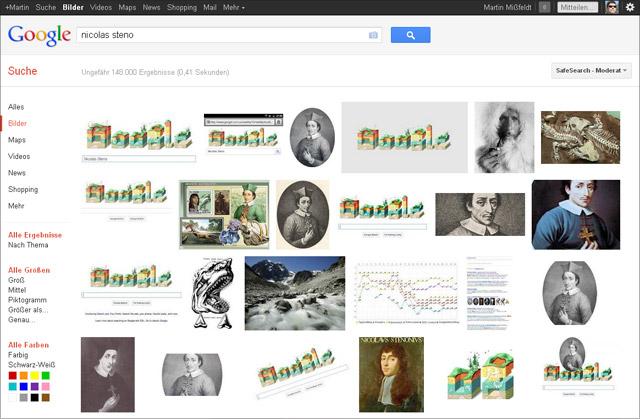 Google Bildersuche: Nicolas Steno (Screen vom 10. Februar 2012)