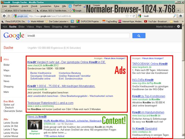 """Google Suche mit Adwords-Anzeigen (Beispiel: Suche nach """"kredit"""")"""