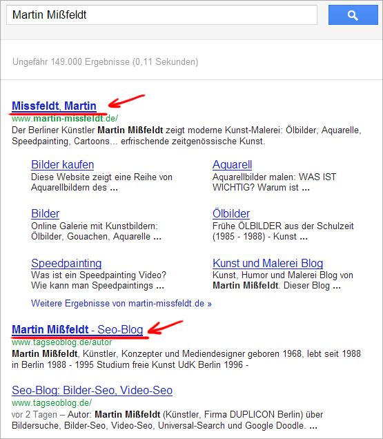 Martin Mißfeldt in den Google Suchergebnissen