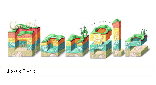 Nicolaus Steno Fossilien Doodle auf der Google Homepage