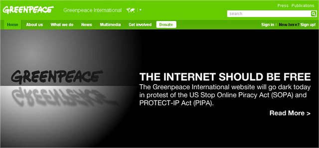 Greenpease goes STOP SOPA