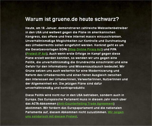 SOPA bei Grüne.de