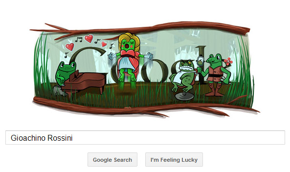 Gioachino Rossini : Barber-frogs in Seville (funny Google doodle)
