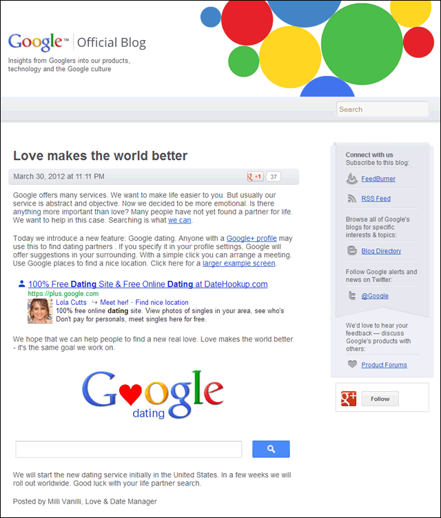 "Offizieller Google-Blog: ""Love makes the world better"" (Google Dating)"