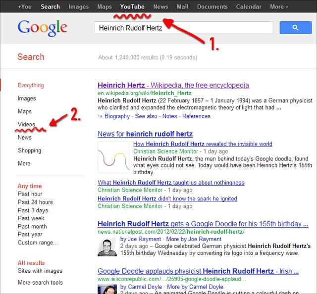 Google Suchnavigation: statt Videosuche wird nun youTube-Suche angezeigt und aufgerufen
