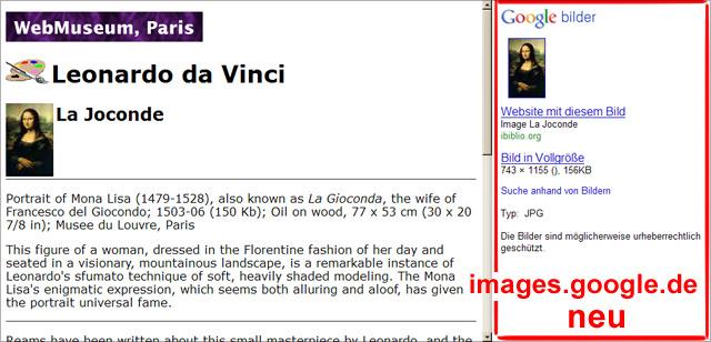 images.google.de -> Neue Darstellung nach Klick auf Bildergebnis