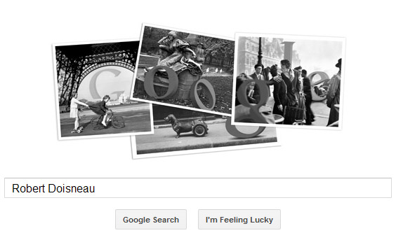 Robert Doisneau Google Doodle mit vier Fotos