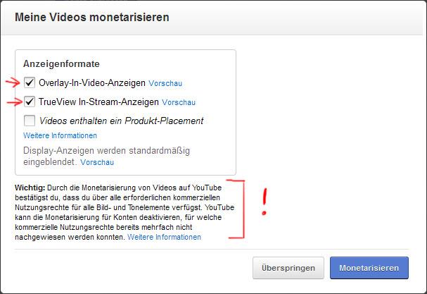 """youTube: """"Meine Videos monetarisieren"""""""