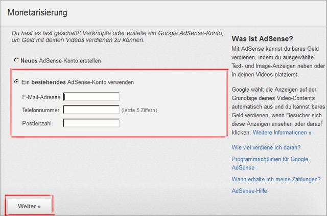 YouTube mit Adsense Konto verknüpfen - mit Email, Telefon und Postleitzahl