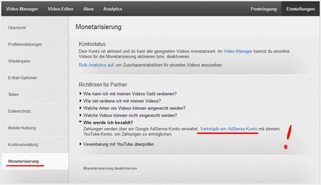 Nicht vergessen! Youtube mit Adsense-Konto verknüpfen