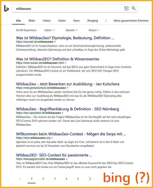 """Keyword """"WildsauSeo"""" bei bing - gravierende Unterschiede"""