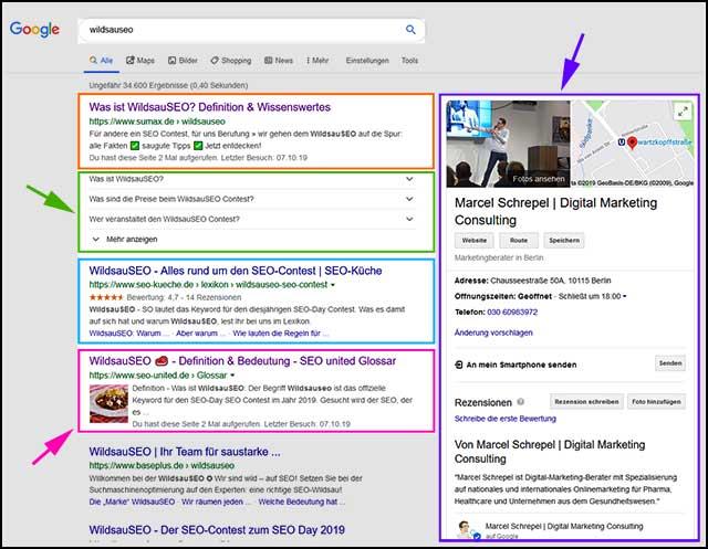 WildsauSeo-Ranking (08.10.2019) - Top-Ergebnisse der organischen Google-Suche (Desktop)