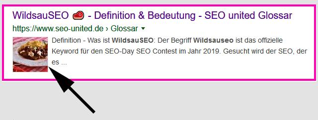 WildsauSeo-Rezept erzeugt Bild in den organischen Google-Rankings